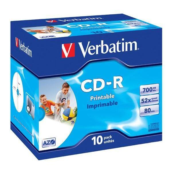 Disk Verbatim CD-R 700MB/80min. 52x, printable, jewel box, 10ks