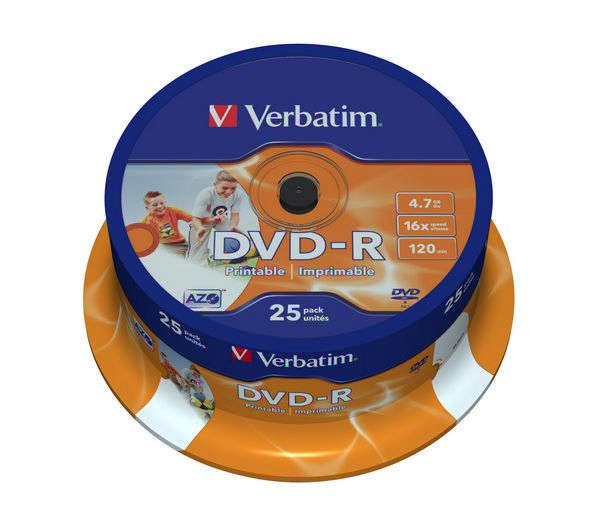Disk Verbatim DVD-R 4.7GB, 16x, Printable 25cake