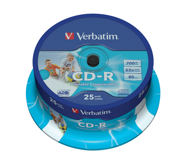 Disk Verbatim CD-R 700MB/80min, 52x, printable, 25-cake