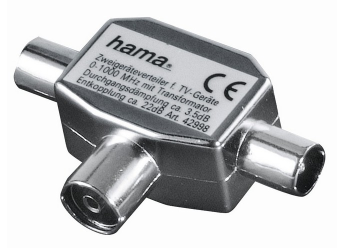Rozbočovač Hama pro TV, 1x koaxiální zásuvka - 2x koaxiální vidlice