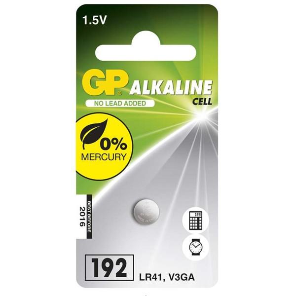 Alkalická knoflíková baterie GP LR41 (192), 1 ks v blistru